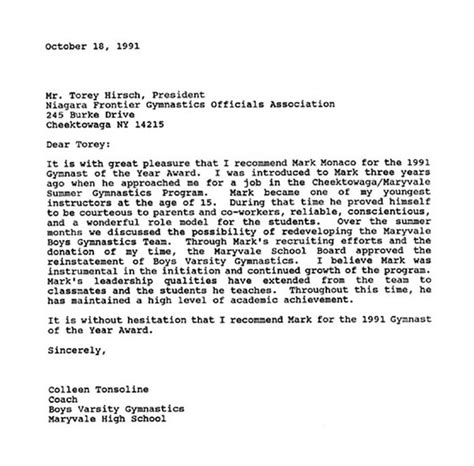 Scholarship Letter Of Recommendation From Coach A Monaco Memorial Foundation