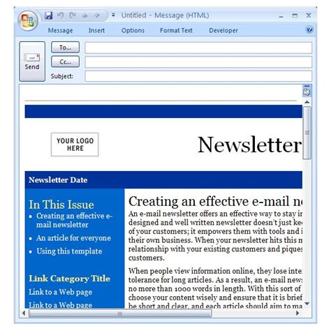 Newsletter Outlook Template downloading the best free artist templates for cool office