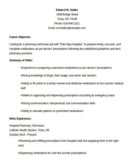 objective for pharmacy technician resume pharmacy technician resume exle 9 free word pdf