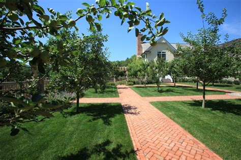 fruit orchard with brick pathways traditional