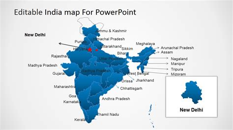 Editable India Map Template For Powerpoint Slidemodel India Map Ppt
