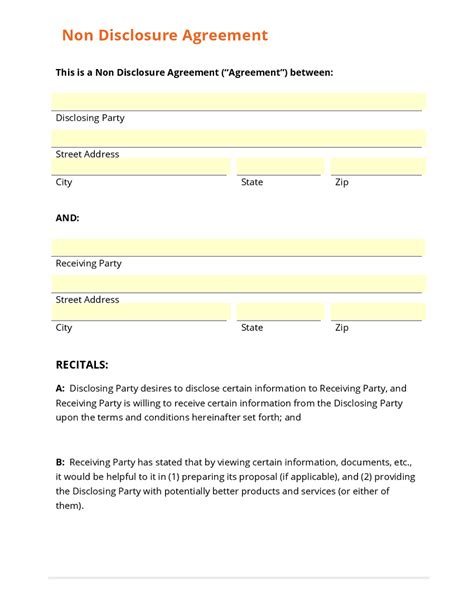 nda template business form template gallery