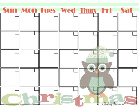 printable christmas blank calendars calendar template 2016