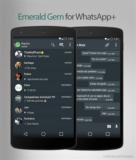 themes whatsapp for android theme gem emerald for whatsapp plus android