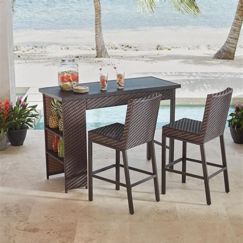 Hampton Bay Rehoboth 3 Piece Wicker Outdoor Bar Height Dining Set 720.130.000   The Home Depot