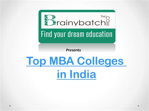 Mba In Media Management In Indore by Ranking List Of Top Mba Colleges In India Authorstream