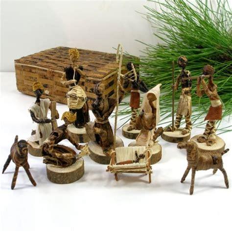 Handcrafted Nativity Set - nativity set handmade in kenya from banana fiber