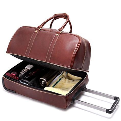 Leathario Men's Leather Luggage Wheeled Duffle Leather