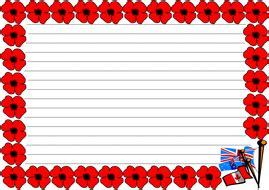 lined paper with poppy border remembrance day by jinkydabon teaching resources tes