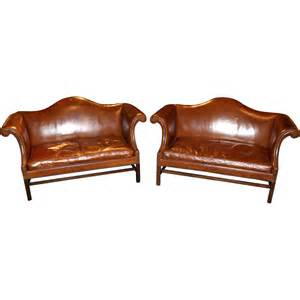Camel Back Leather Sofa Pair Of Kittinger Leather Camel Back Sofas Williamsburg Adaptation From Nhantiquecoop On Ruby