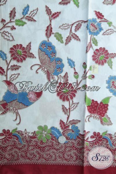 kain batik warna biru muda motif kupu  bunga kain
