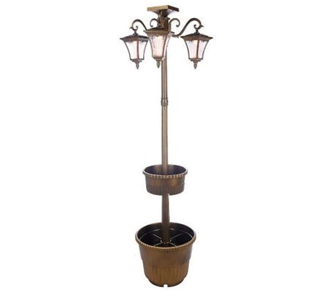 Solar L Post With Planter by Solar Powered White Led L Post W 3 Lanterns Tiered Planter Qvc