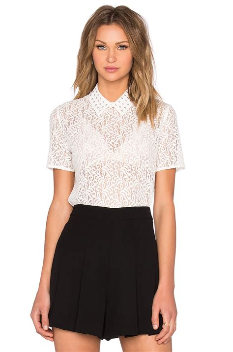 White Crochet Sleeved Shirt 1 the kooples sleeve lace top in white lyst