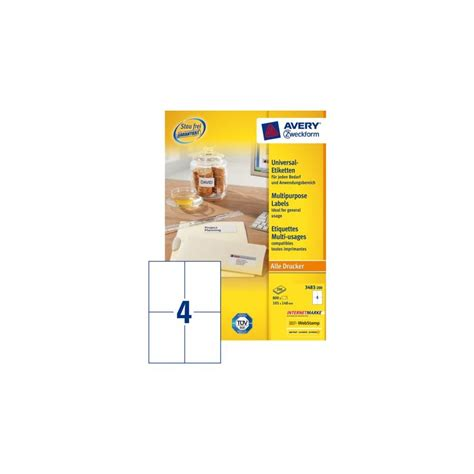 Etiketten Avery by Etiket Avery Zweckform 3483 105x148mm A6 Wit 800stuks