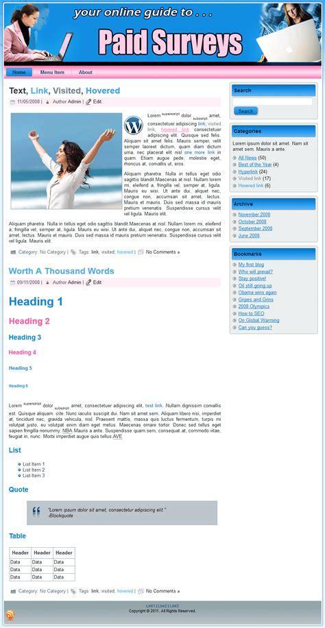 paid surveys plr template landing page