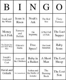children s bible stories bingo card of interest to me