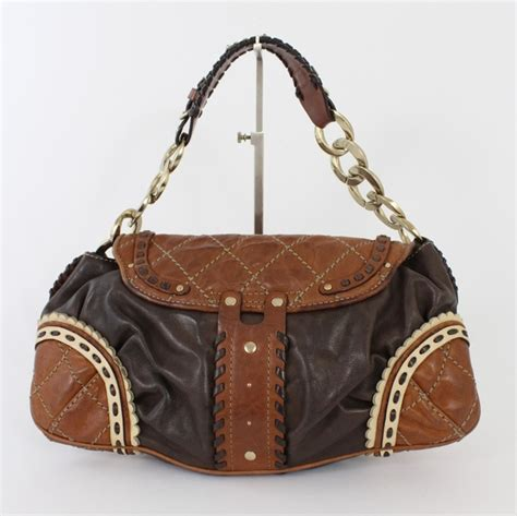 Couture Tinsley Leather Handbag by Couture Multi Brown Woven Leather Shoulder Bag