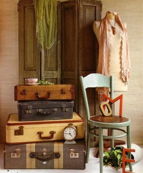 Vintage Suitcase Decor by Ethnic Cottage Decor Decorating With Vintage Luggage