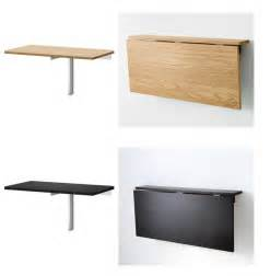 Simple folding desk wall mounted made from wood with stainless steel