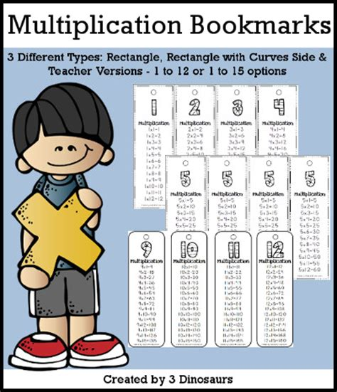 printable math bookmarks 3 dinosaurs multiplication bookmarks