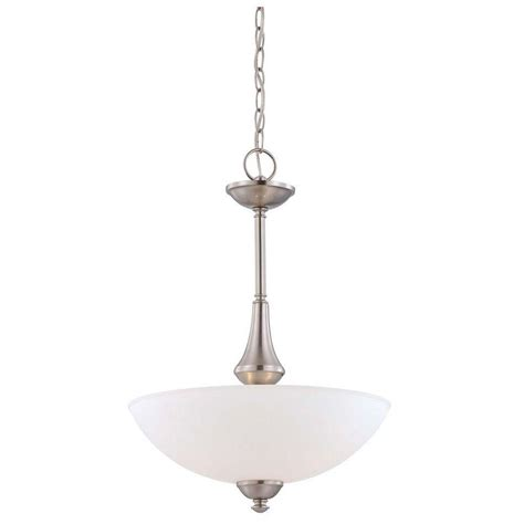 Frosted Glass Pendant Light Shade Illumine 3 Light Brushed Nickel Pendant With Frosted Glass Shade Hd 5038 The Home Depot