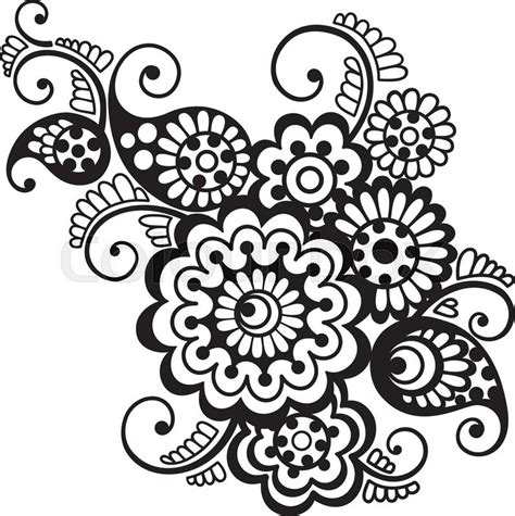 vector floral pattern element indian ornament henna