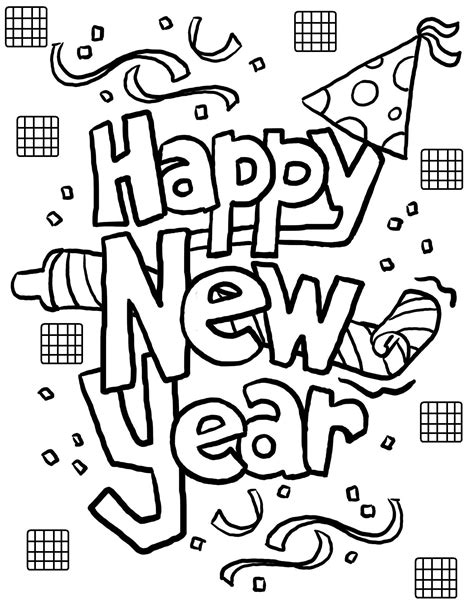 Free Coloring Page Happy New Year | free printable new years coloring pages for kids
