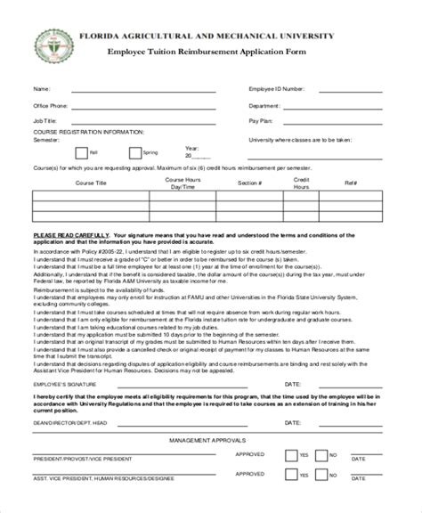 tuition reimbursement form template sle tuition reimbursement form 8 free documents in pdf