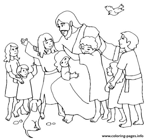 coloring pages of jesus and the at the well jesus with children coloring pages printable