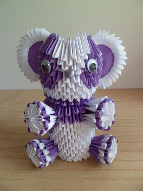 3d origami teddy bear tutorial 3d origami purple bear by tlvorigami on deviantart