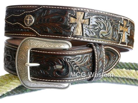 brown leather western 3d western mens belt leather tooled cross cutout conchos