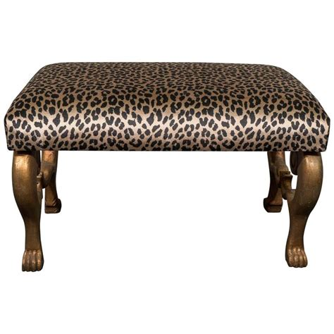 leopard print bench midcentury gilt carved egyptian bench with leopard print