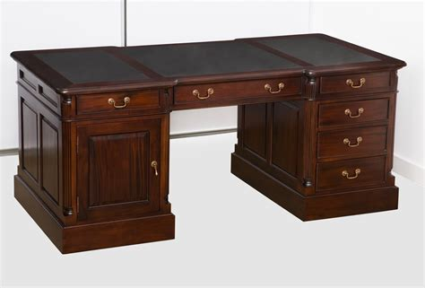 Mahogany Furniture Everingham Mahogany Desk With Return Black Leather