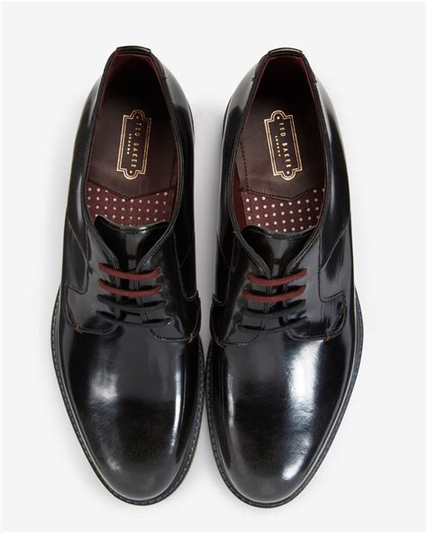 ted baker high shine leather derby shoes in gray for