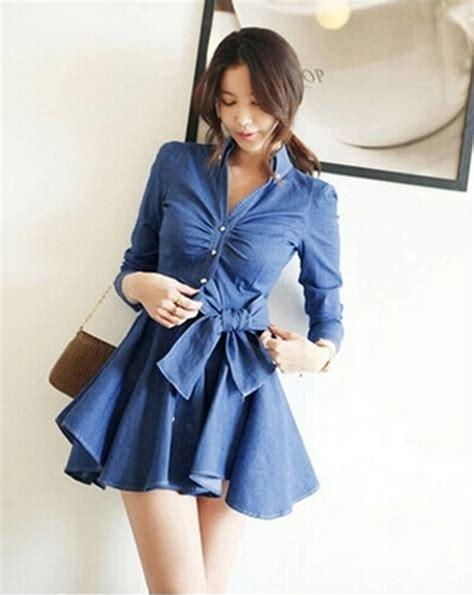 Dress Yuyu Mini Dress Denim 2015 summer denim dress slim fit bowknot belt sleeve pleated shirt dress washed
