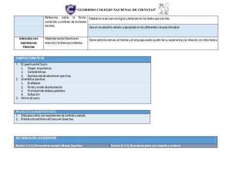 programacion anual con las rutas de aprendizaje 2016 programacion anual de quechua 2 170 con rutas de aprendizaje 2016