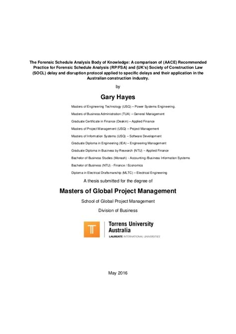 management thesis project management masters thesis gary
