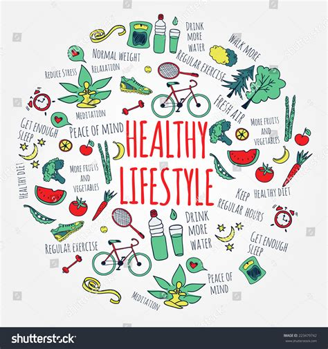 doodle lifestyle healthy lifestyle concept vector stock vector