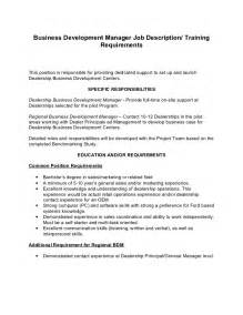 Business Development Description Sle by Business Development Manager Description Ford