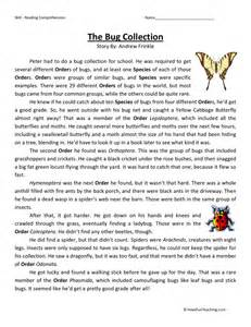 reading comprehension worksheet the bug collection