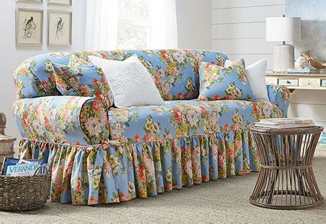Sure Fit Juliet By Waverly One Piece Slipcovers Waverly Sofa Slipcovers