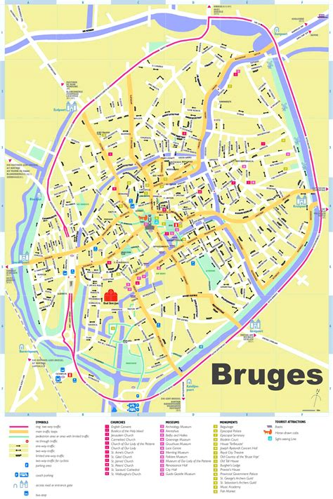 printable street map bruges bruges tourist map