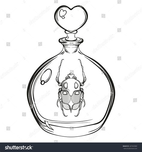 glass beetle tattoo engraving sketch scarab beetle stock vector