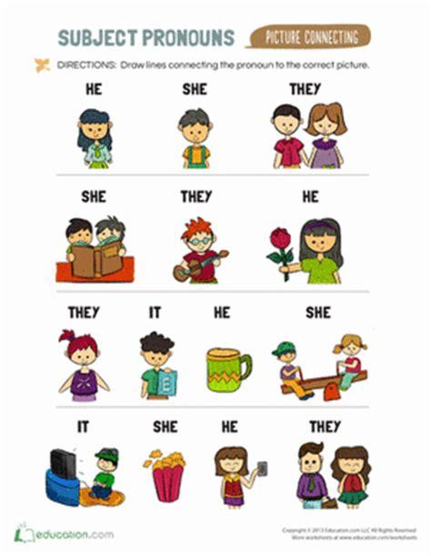 pronoun worksheet kindergarten subject pronouns for worksheet education
