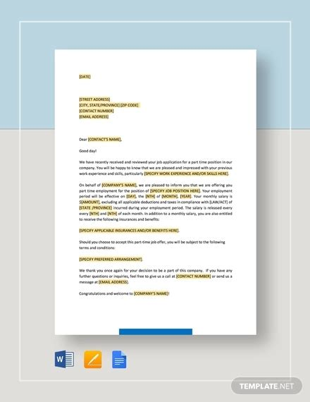 simple offer letter template   word  format