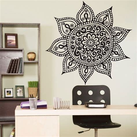 wall stickers home decor yoga mandala om indian buddha symbol mehndi vinyl wall