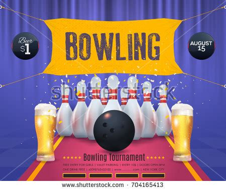 design banner bowling bowling poster blue watercolors vector background stock