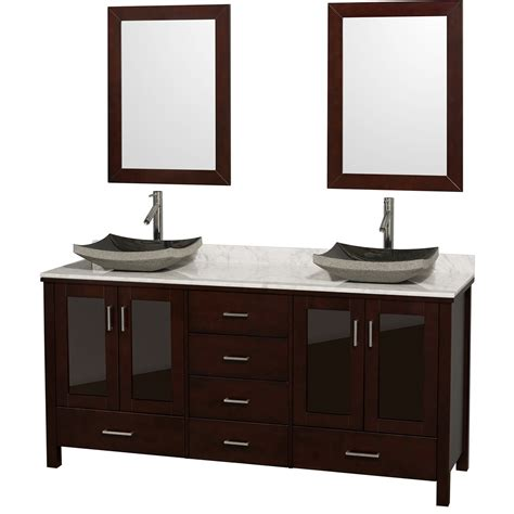 Lucy 72 Quot Double Bathroom Vanity Set With Vessel Sinks Dual Bathroom Vanities