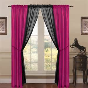 Pink And Black Curtains 6 Faux Silk Window Curtain Panels Pink Black Ebay