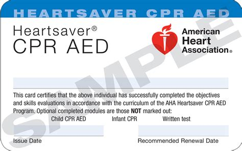 American Association Heartsaver Cpr Card Template by San Jose American Association